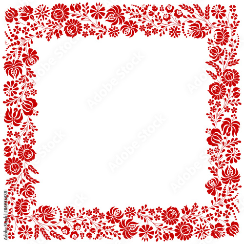 Fototapeta Square frame made from Hungarian embroidery pattern