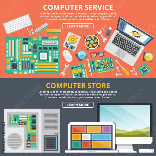 computer service computer store flat illustration concepts set buy photos ap images. Black Bedroom Furniture Sets. Home Design Ideas