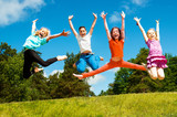 Fototapety Happy active children jumping