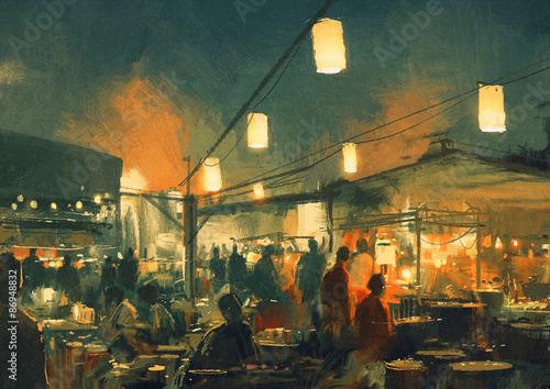 crowd of people walking in the market at night,digital painting - 86948832