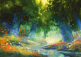 Fototapety mystic blue and green forest with a fantasy atmosphere,illustration painting