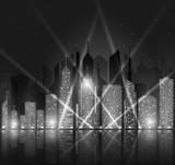 Bright night cityscape