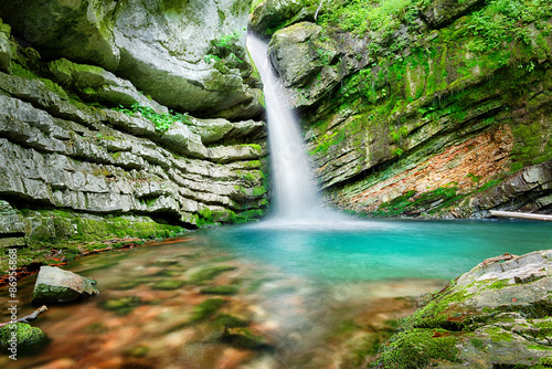 Fototapeta Magic waterfall in Slovenia