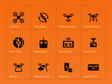 Wireless quadcopter and drone icons on orange background. poster