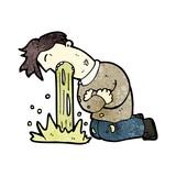 cartoon man being sick
