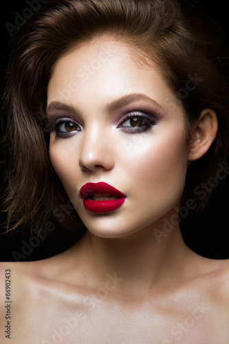 Plakát, Obraz Beautiful young model with red lips