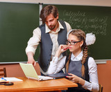 Teacher and student in the classroom calculus. poster