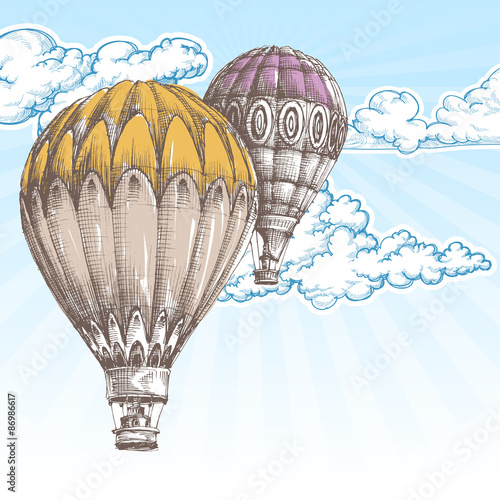 Hot air balloons in the blue sky retro background - 86986617