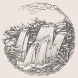 Fototapety Waterfall round drawing