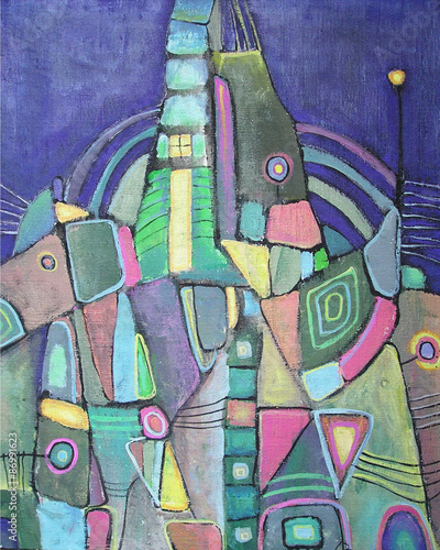 Acrylic colorful abstract painting Night city with different geometrical shapes. Abstract background composition inspired geometric design. Picture for the interior, as part of wall decorations. © liyavihola