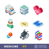 Isometry medicine flat icon set. Health care workers, taking care of your health and body. Beauty and healthy lifestyle