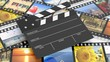 Clapperboard on filmstrips with pictures as background