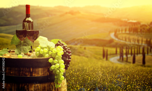 Red wine with barrel on vineyard in green Tuscany, Italy