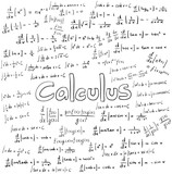 Calculus law theory and mathematical formula equation, doodle handwriting vector poster