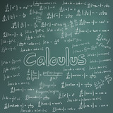 Calculus law theory and mathematical formula equation, doodle handwriting in blackboard poster