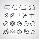 Different vector icons collection. Cartography clip-art poster