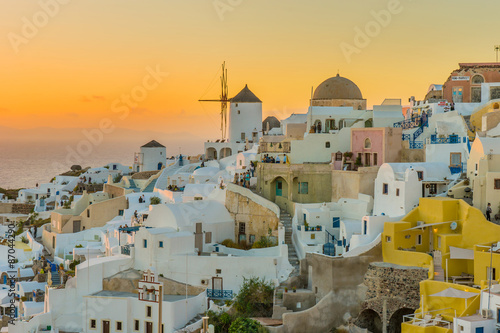 Beautiful city at sunset Santorini Island Greece