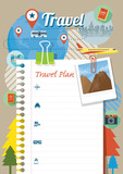 Fototapety Blank Paper Traveling Plan and Background