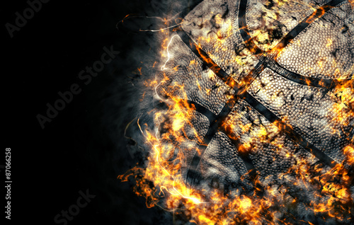 Poster Basketball background. Fire illustration.
