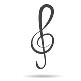 violin key sign vector music symbol black
