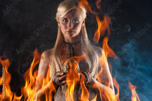 beautiful woman with a dragon egg in hands Poster