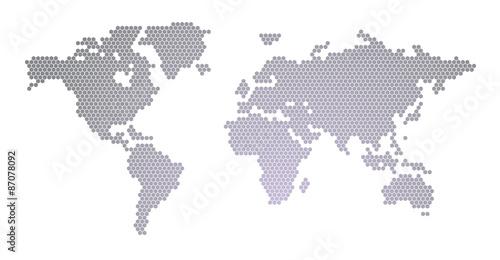 World Map Hexagon Design