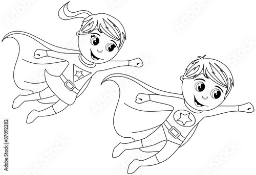 Boy and Girl Superhero kids flying for colouring book isolated