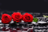Lying down red three rose with therapy stones