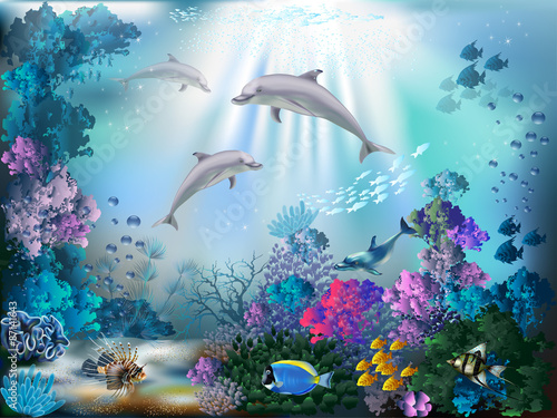 Obraz The underwater world with dolphins and plants