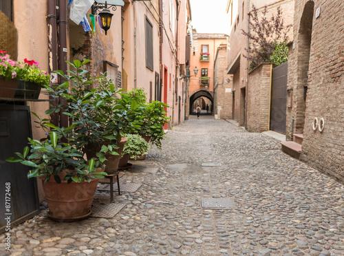 Obraz na Szkle Ancient trattoria in the downtown of Ferrara city