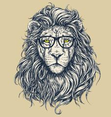 Hipster lion vector illustration. Glasses separated.