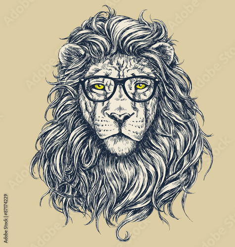 Naklejka Hipster lion vector illustration. Glasses separated.