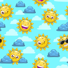 pattern with sun character