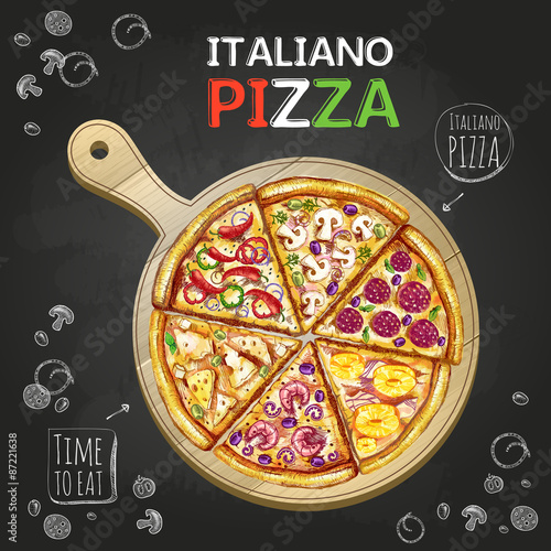 Fototapeta Italiano Pizza poster background