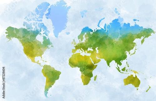 Cartina mondo, disegnata illustrata pennellate