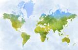 Cartina mondo, disegnata illustrata pennellate, confini Stati