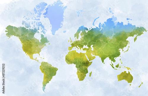 Aluminium Wereldkaarten Cartina mondo, disegnata illustrata pennellate, confini Stati