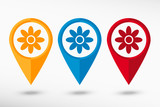 Pictograph of flower map pointer. Flat design style  poster