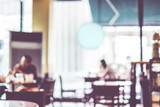 Blurred background : People in Coffee shop blur background with