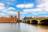 Big Ben, Westminster Bridge on River Thames in London, England, UK