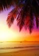 Beautiful sunset over beach, summer holidays background. - 87268826