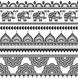 Mehndi, Indian Henna tattoo seamless pattern with elephants - 87269066
