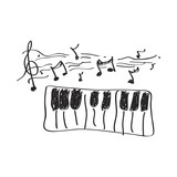 Fototapety Simple doodle of a piano
