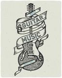 Fototapety Retro print for rock guitar music festival