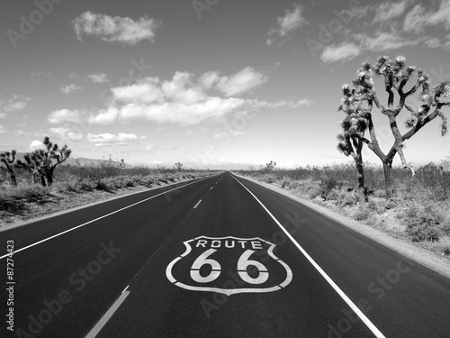 Poster Route 66 Mojave Desert Black and White