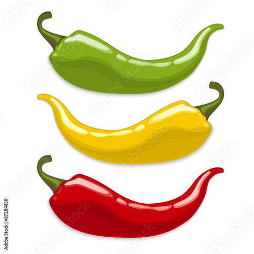 Valokuva Chili peppers. Isolated vector