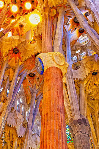 Fototapeta Ceilings and columns of the Sagrada Familia Cathedral in Barcelo