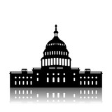 Washington Capitol building skyline silhouette vector