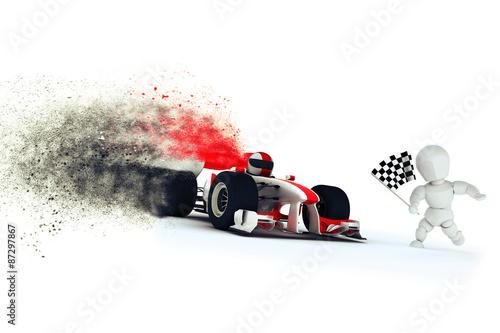 Aluminium F1 Generic racing car with speed effect