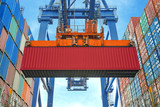 Fototapety Shore crane loading containers in freight ship